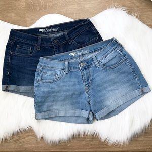 Bundle of 2 Old Navy Boyfriend Denim Shorts size 4